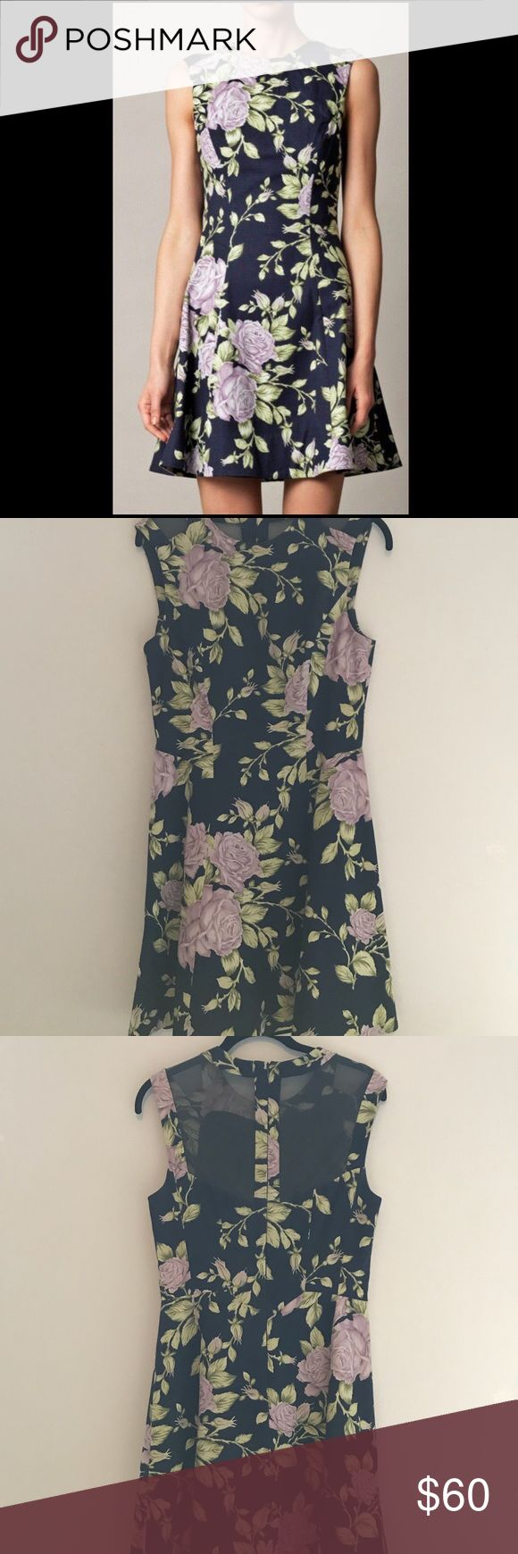 """rag & bone navy floral ruby dress Sheer panels add extra allure to the classic floral print and contemporary silhouette of the Rag & Bone Ruby dress.  Floral print.  Round neckline; sleeveless.  Princess seams.  Pleated, A-line skirt.  Back zip with sheer panels.  Approx. 33""""L from shoulder.  Cotton/Lycra®.  Made in USA.   No visible marks or damage. GREAT condition! rag & bone Dresses"""