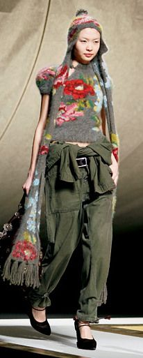 kenzo ... Olive drab and flowers always go well together