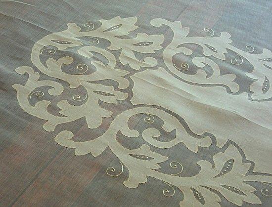 Em Kalp Antik Linens -Vintage Linens Organze Masa Örtüsü Peçeteler Seti