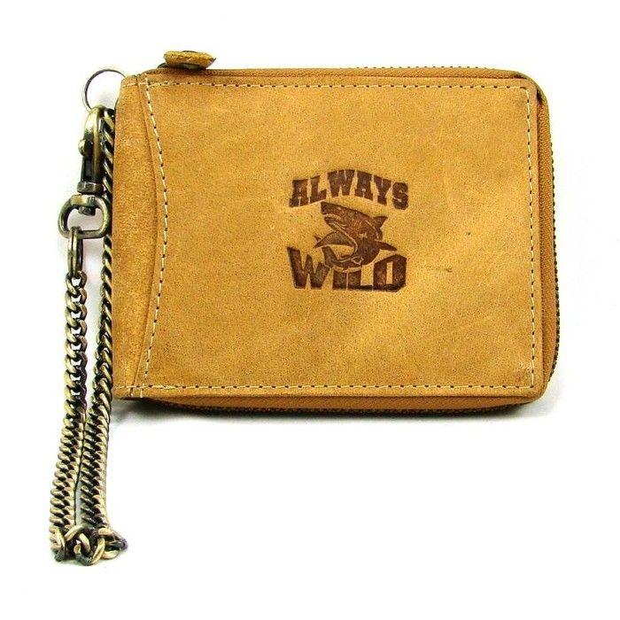 Hnědá kožená pánská peněženka na zip s řetízkem - peněženky AHAL