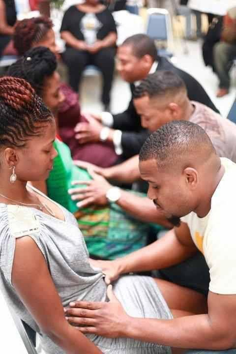 Here we have Hebrew Israelite men praying blessings over their wives and unborn children together. Beautiful!!!