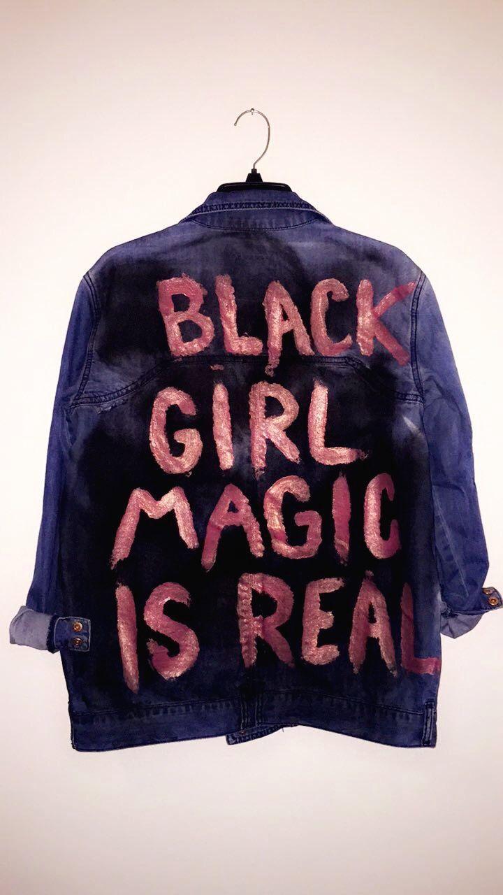 Painted Denim Jacket. Black Girl Magic is Real. @courtnee_camile #blackgirlmagic