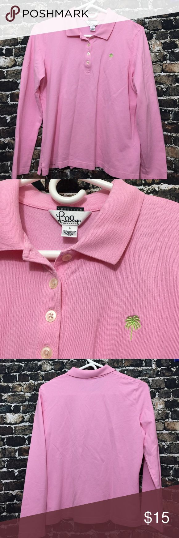 """Lilly Pulitzer Shrunken Pink  Polo Shirt women L🎊 Lilly Pulitzer Shrunken Pink Long Sleeve Pima Cotton  Polo Shirt *Women Large  inventory :z1.   Thank you guys  Please check out the another item in my store:)  ∴MEASUREMENTS∴  Pit to Pit→20"""" Shoulder to shoulder→15"""" Length from shoulder ---->22"""" Measurements Are Approximate  And May Vary Slightly. Lilly Pulitzer Tops Tees - Long Sleeve"""