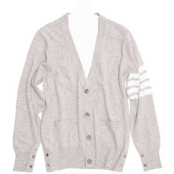 Preowned Thom Browne Light Grey Cashmere V-neck Cardigan (1,797,105 KRW) ❤ liked on Polyvore featuring tops, cardigans, grey, sweaters, v neck jersey, grey striped cardigan, grey cashmere cardigan, v neck cardigan and cashmere v neck cardigan