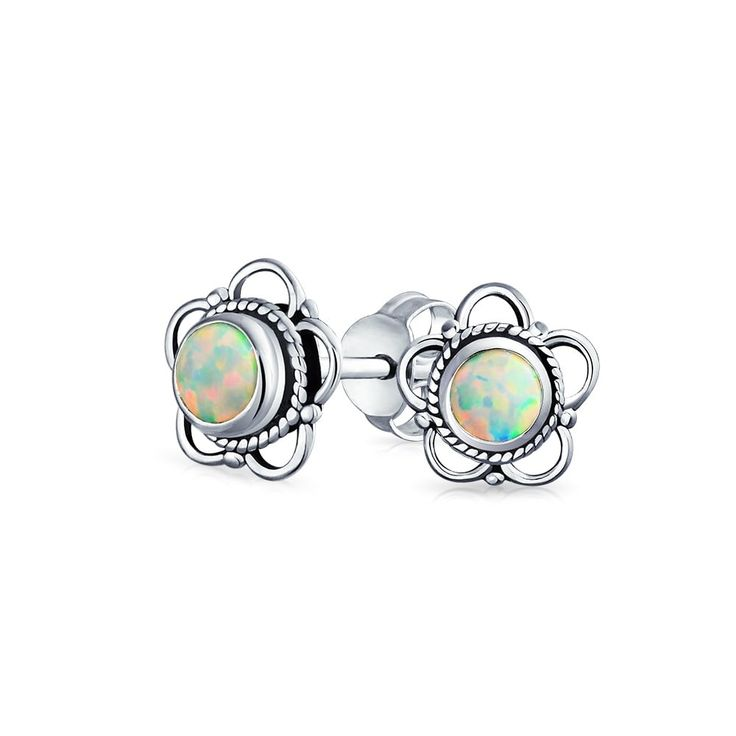 Bling Jewelry Imitation Opal Cut Out Flower Stud earrings 925 Sterling Silver 8mm - White - Free Shipping On Orders Over $45 - Overstock.com - 24160551