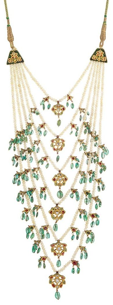 Indian Multistrand Pearl, Jaipur Enamel, Emerald Bead, Foiled-Back Colored Stone and Diamond Necklace