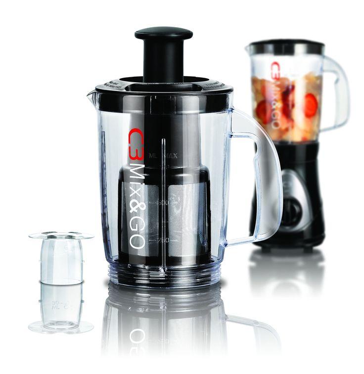 C3 Juicer Jar är en tilläggskanna för C3 Mix & Go Blender. Byt ut din vanliga Mix & Go flaska mot din juicerenhet, och gör mjuk filtrerad juice.