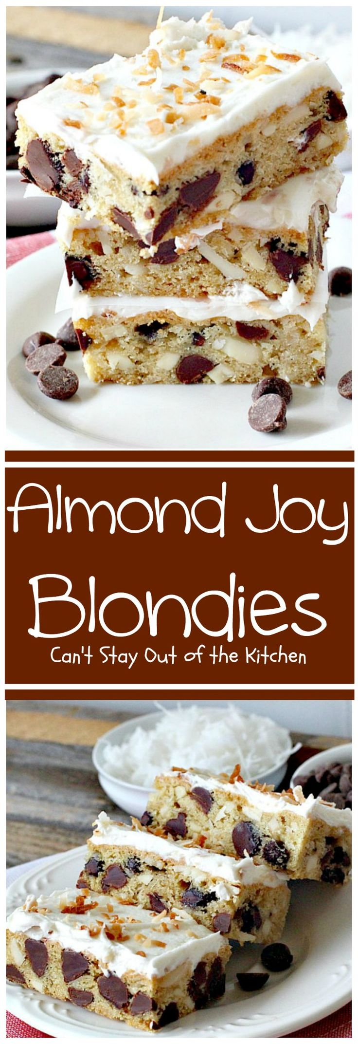 Almond Joy Blondies | These rich and decadent cookies are divine. Perfect dessert for any occasion. The icing is to die for!