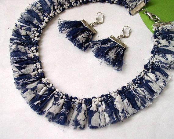 Summer set  Denim Blue Ruffle Fabric Earrings and by AngelaDesign, $22.90