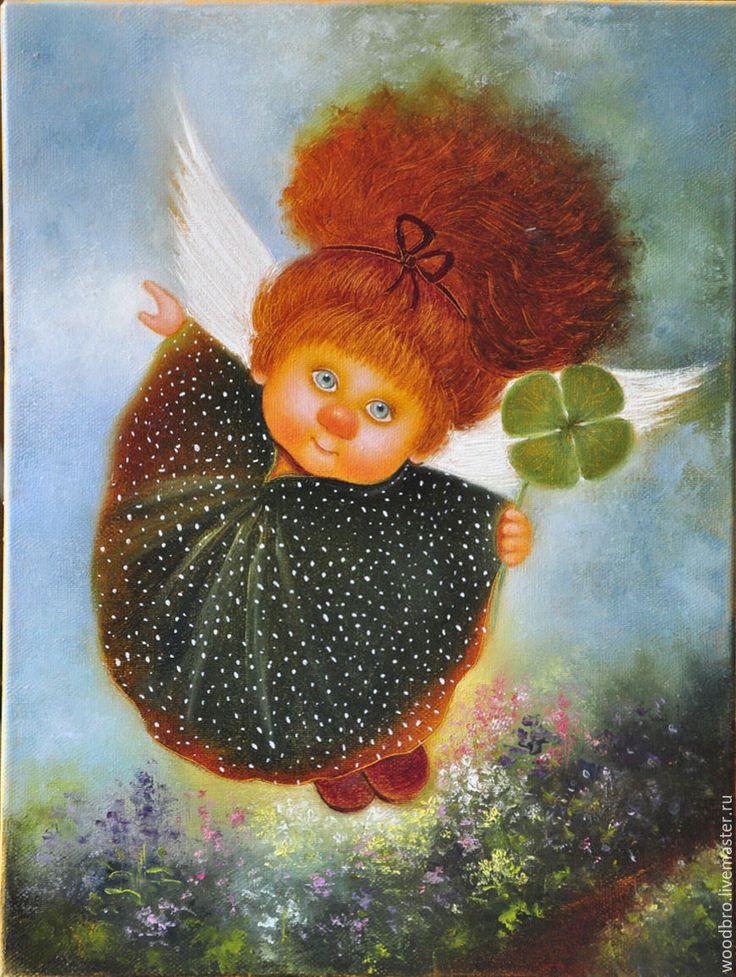 Купить Ангел удачи, картина маслом - ангел удачи, ангелочек, картина маслом, картина в подарок