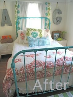 love the idea of painting an old iron bed in a bright color - like pretty much everything about this room