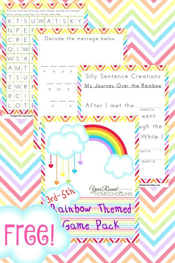 Free Rainbow Game Pack (3rd-5th) - Year Round Homeschooling #Rainbow #Game #GamePack #Homeschooling
