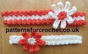 Free Crochet Pattern For Softball Headband : Two sweet headbands free crochet pattern from http://www ...