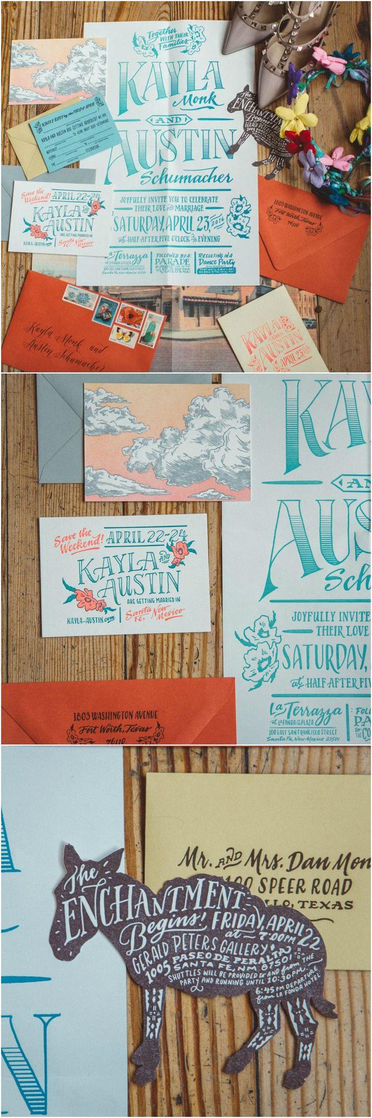 Wedding invitations, donkey, calligraphy, orange & turquoise, desert wedding, New Mexico // @alicialuciap