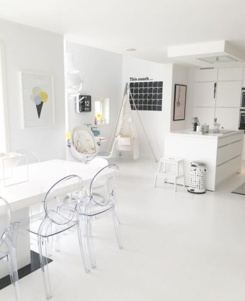 modern white, minimal, Scandinavian kitchen with bloom's fresco chrome high chair. from @juliehole.