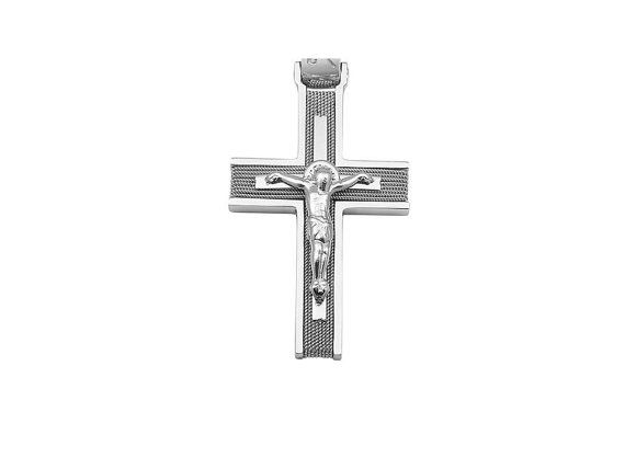 Solid 14K White Gold Cross necklace pendant White by KANTILAKI
