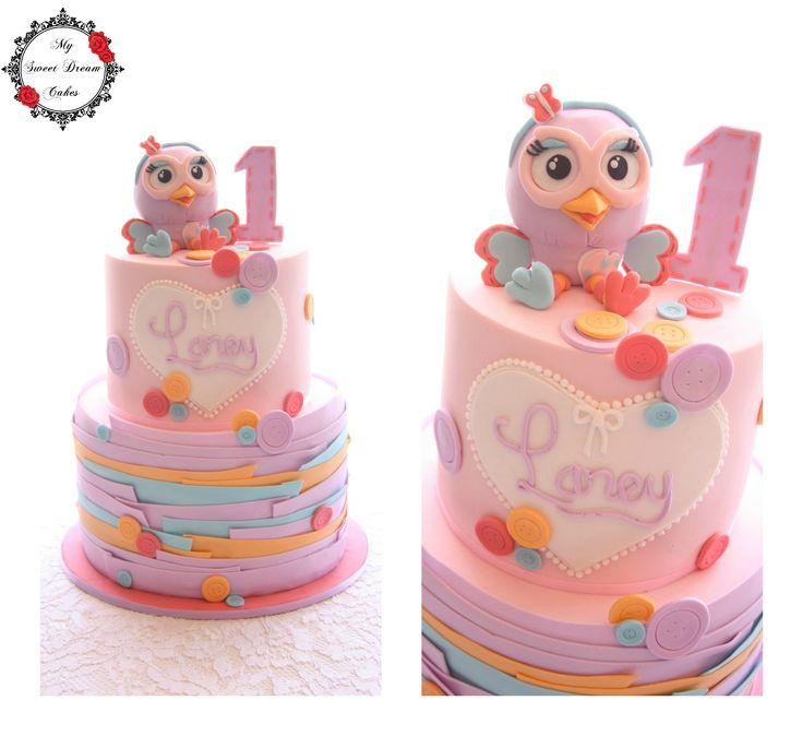 Hootabelle first birthday cake by My Sweet Dream Cakes #giggleandhoot #cake #mysweetdreamcakes