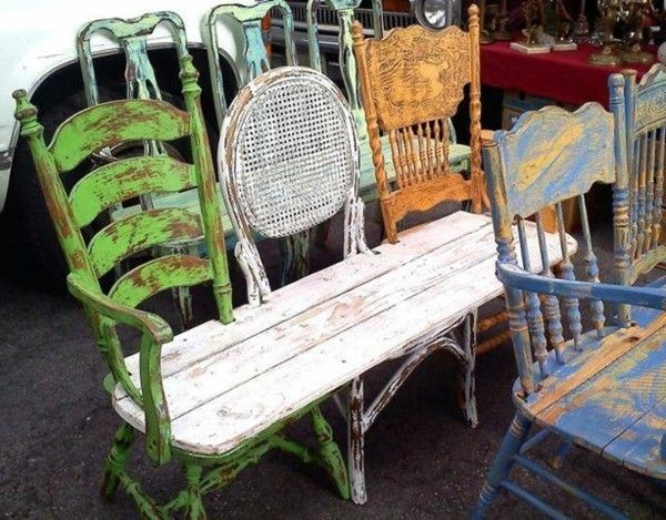 garden bench made of chairs