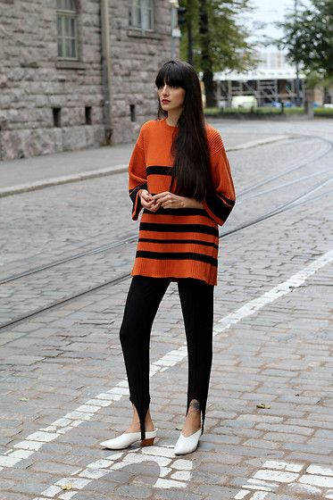 Get this look: http://lb.nu/look/8578519  More looks by Paz Halabi Rodriguez: http://lb.nu/pazhalabirodriguez  Items in this look:  Monki Orange Striped Sweater, H&M Fuseau Pants, Zara White Mules   #casual #chic #street #blogger #newpost #santiago #chile #barcelona #madrid