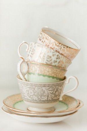 Tea cups in the most beautiful color palette. China from Plate: http://www.vintageplaterental.com/index.html, photo by Avery House: http://averyhouse.net/index2.php #gold #coral #antique