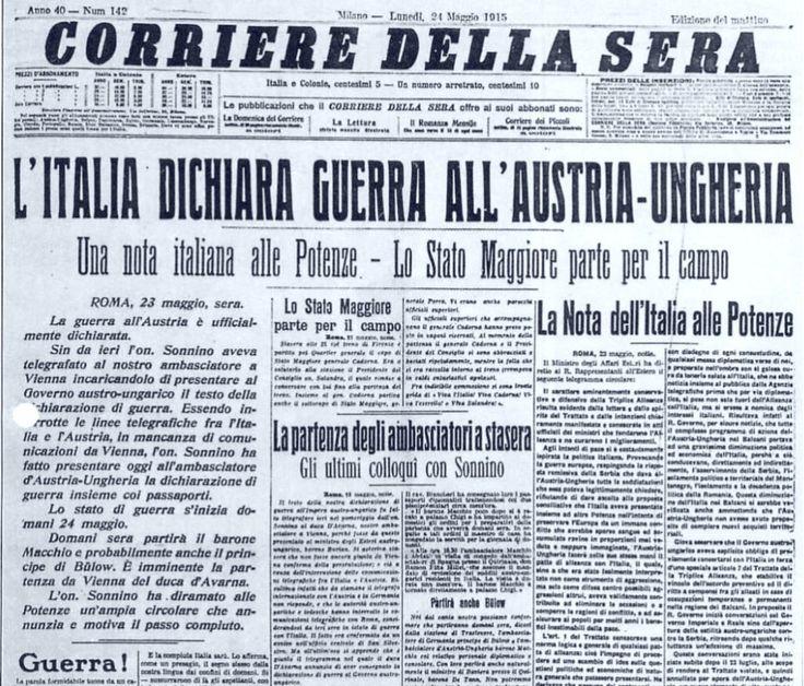 Prima Guerra Mondiale, Il Corriere della Sera del 24 maggio 1915    #TuscanyAgriturismoGiratola