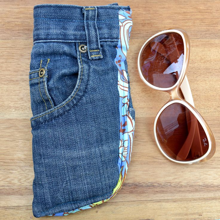 Make a really handy sunglasses case with a pocket for your keys using a pocket from an old pair of jeans.