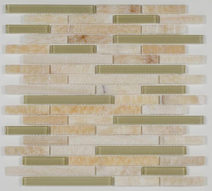 Linear Glass Stone Mosaic Tile Honey Onyx | Mineral Tiles