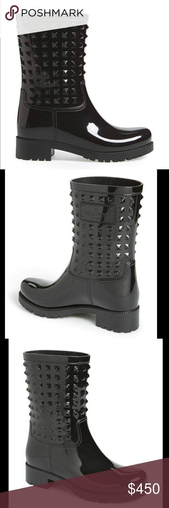 Valentino rock stud rain boots Brand new in box. Size 39. Fit like an 8 in my opinion. Valentino Shoes Winter & Rain Boots