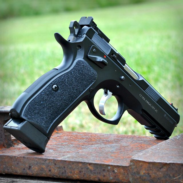 CZ SP-01 Shadow with custom grips from www.coppergungrips.com #CZ #Guns