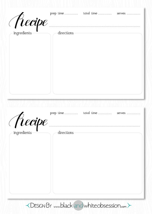 Elegant Free Recipe Card Download Www.blackandwhiteobsession.com