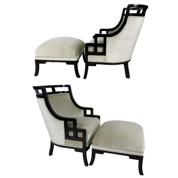 "Pair of ""Wallis Simpson"" Lounge Chairs and Ottomans by Jay Spectre 