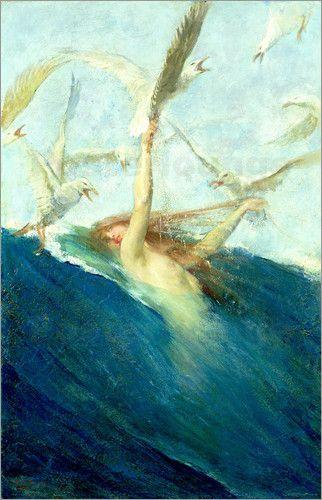 Giovanni Segantini - Meerjungfrau mit Möwen
