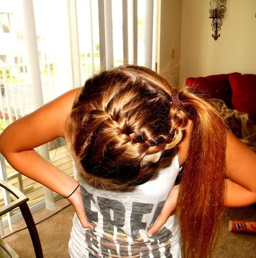 .: Braids Hairstyles, French Braids, Ponies, Long Hair, Cheer Hair, Braids Ponytail, Girls Hairstyles, Hair Style, Cheerhair