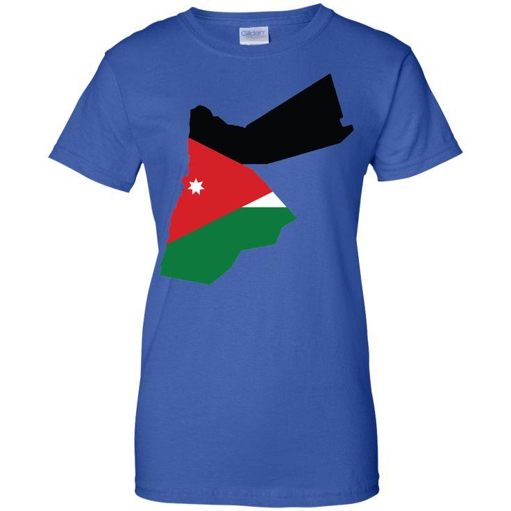 Jordan flag Ladies Custom 100% Cotton T-Shirt
