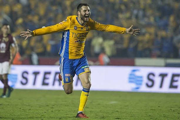Andre Gignac of Tigres celebrates at the end of the Final second leg match between Tigres UANL and America as part of the Torneo Apertura 2016 Liga MX at Universitario Stadium on December 25, 2016 in Monterrey, Mexico.