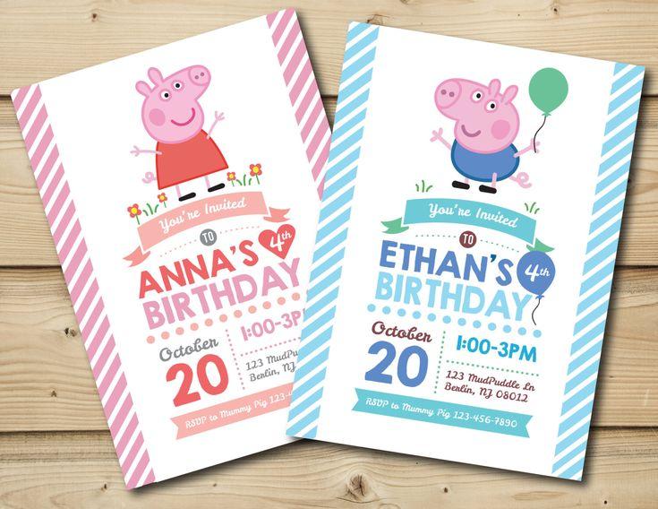 Peppa Pig or George Pig Birthday Invitation by HoneyBeePartyPrints on Etsy https://www.etsy.com/listing/262016027/peppa-pig-or-george-pig-birthday