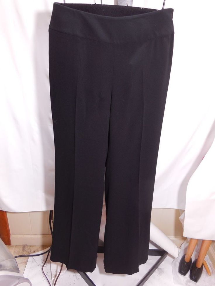 MISSES BLACK CREPE SATIN BACK PANTS TALBOTS SIDE ZIP WIDE LEG 4 10 $119 #Talbots #DressPants