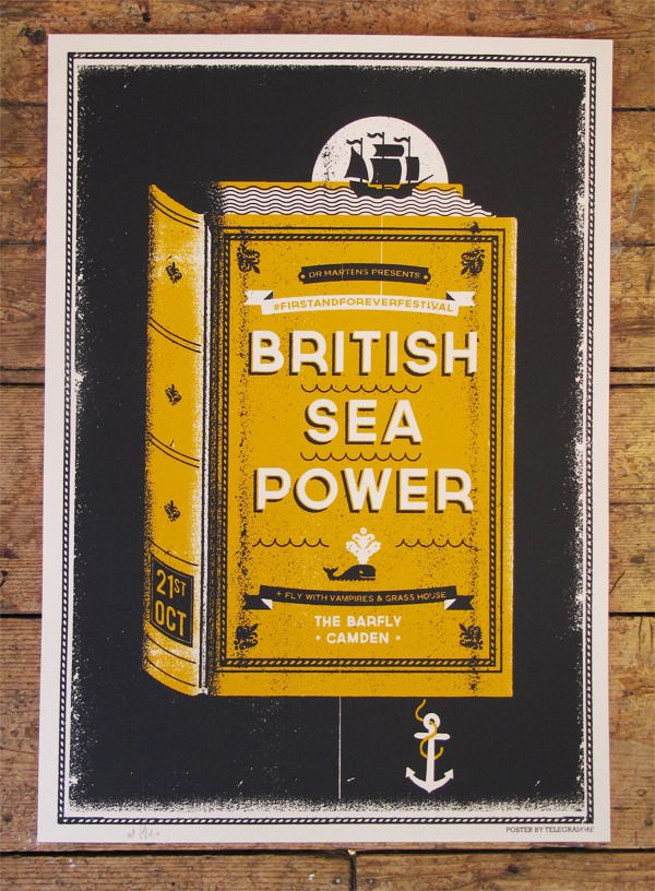 British Sea Power Poster- could reverse out any artwork from the textured background and have paper color fill the illustrations?
