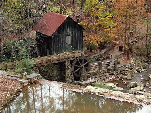The mill was purchased from J. T. Lefler, owner of the Pine Run Mill in Huntsville, Virginia and relocated to the campus of Life University on Rottenwood Creek as part of a 19th century village. The mill is an old stone and wood mill in Cobb County Marietta, Georgia.