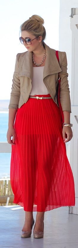 Red & Camel pleated skirt   For similar style:  http://shop-the-collection.enstore.com/item/british-empire-dress $70.00