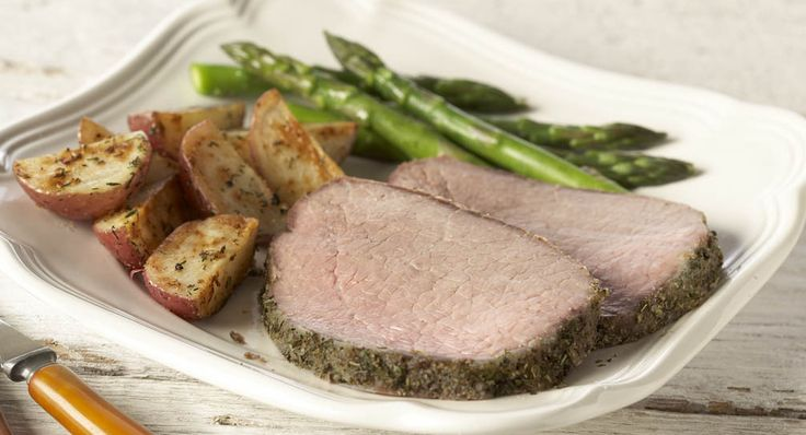 """HERBED ROAST BEEF RECIPE: ~ From: """"McCORMICK KITCHENS."""" ~ Prep.Time: 10 min; Cook Time: 1 hr, 30 min; Yield: (12 servings-can be adjusted). ~ A seasoning rub of McCormick® herbs and spices makes roast beef flavorful. If desired, use some of the flavorful pan drippings to prepare Perfect Brown Gravy."""
