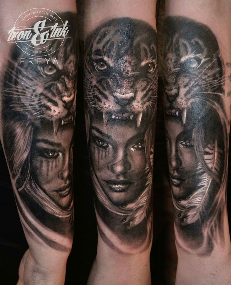 Realism Tattoo For Woman: Tiger Woman Tattoo Realistic