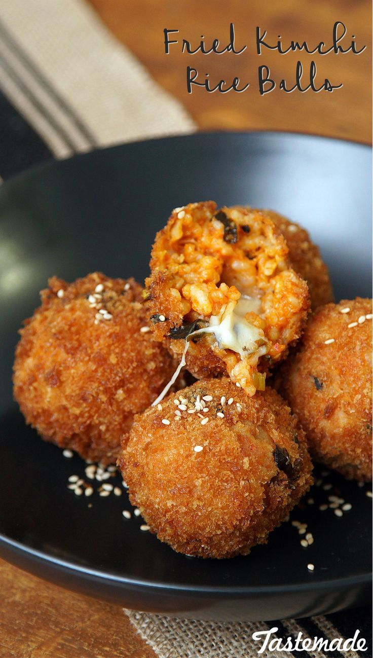 Bite-sized kimchi rice balls taste twice as nice when stuffed with cheese and deep-fried to perfection.