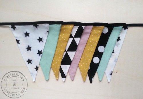 Stoffen vlaggenlijn Handmade Black/yellow/mint