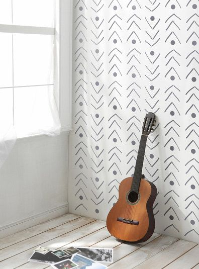 Fishlane Decorative Scandinavian Wall Stencil for DIY project, Wallpaper look and easy Home Decor, Ethnic, African, Tribal style,Bohemian