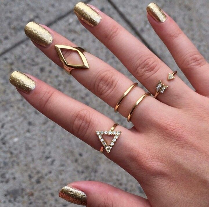 5 piece Gold Rhinestone Midi Rings from Fashion Struck