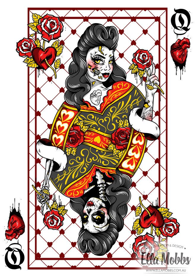 Queen of Hearts A4 Print by Ella Mobbs by ellamobbs on Etsy, $20.00