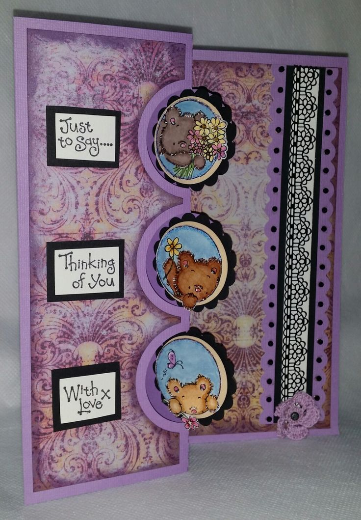 "Challenge 37 - Swing Card.Triple swing card cut on Cameo, LOTV stamp set of bears. Paper is Prima Indeed collection ""Enchanted"". I punched scalloped circles and stuck them behind the bears and added 3 sentiments. For the inside I used a Fiskars border punch and added Black crystals along the edges, then added adhesive lace and a crocheted doily with a brad in the centre."