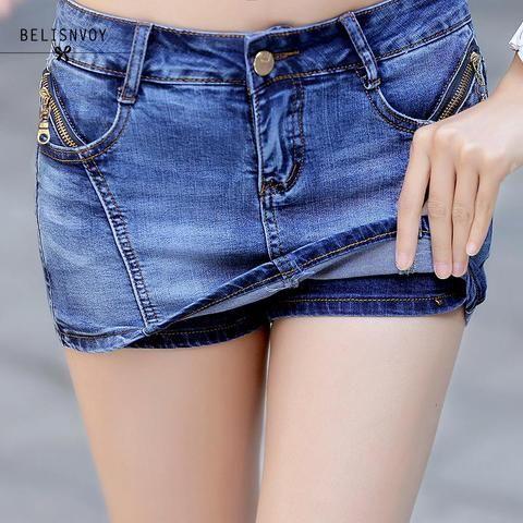 74d19ee4dde7 Women Denim Skorts Skirt Summer 2018 New Korean Style Blue Short Jeans  Feminino With Zipper Slim Sexy Woman Mini Skirt Shorts