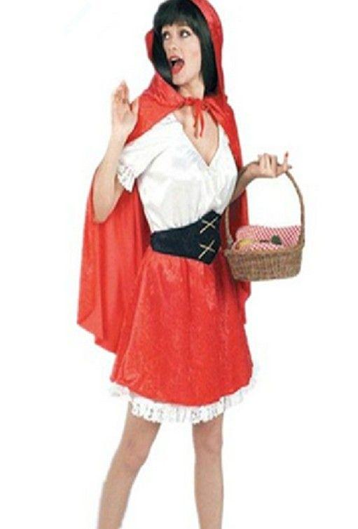 De gratis verzending, Volwassen vrouwen roodkapje jurk kostuum, party prinses prestaties jurk, rode cape + shirt + rok + riem(China (Mainland))